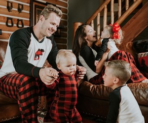 family time, matching pajamas, and whi christmas vibe image
