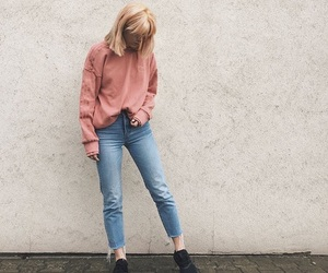 pink sweater, aesthetic outfit, and aesthetic jeans image