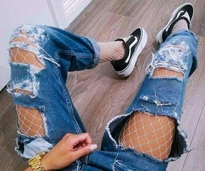 jeans, vans, and red image