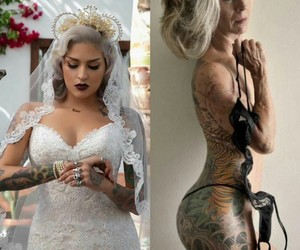 bride, gray hair, and hardcore image