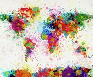 world, colors, and map image