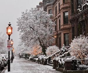 winter, snow, and street image