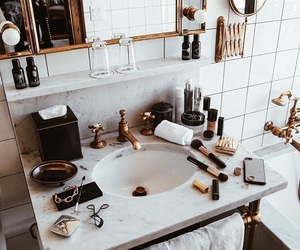 bathroom, makeup, and apartment image