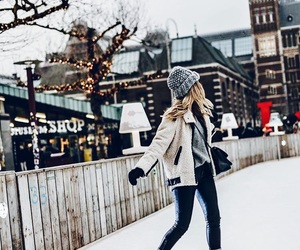 girl, ice skating, and winter image