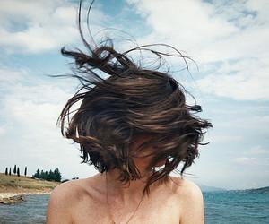 hair, girl, and sky image