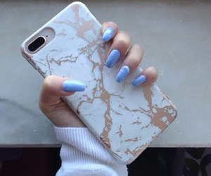 blue, nails, and iphonecase image