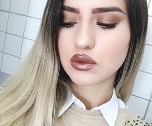 brown, lipstick, and makeup image