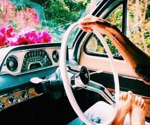 couple, car, and flowers image
