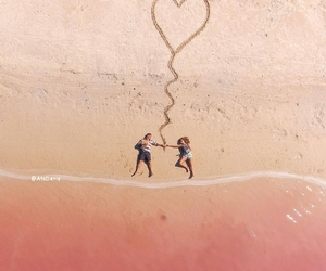 touch, beach, and heart image