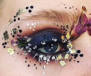 art, eye makeup, and flowers image
