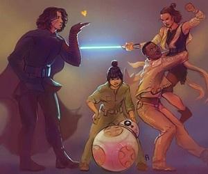 star wars, reylo, and bb-8 image