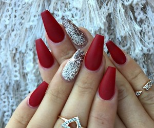 nails, red, and glitter image