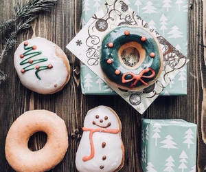 christmas, snowman, and donuts image