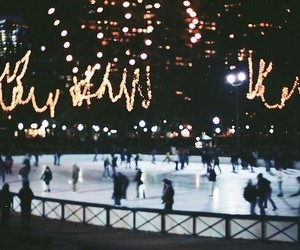 christmas, fairy lights, and ice skating image