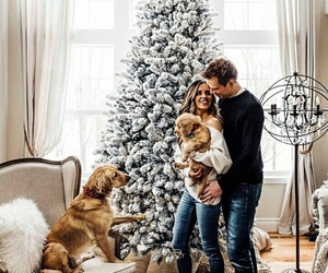 couple, christmas, and dog image
