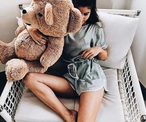girl, teddy bear, and bear image