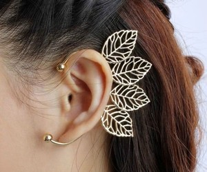 gold, jewelry, and leaves image