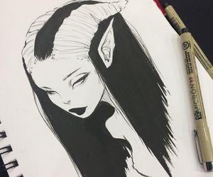 drawing, art, and demon image