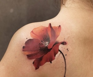 tattoo, watercolor, and flor image