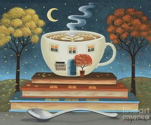 autumn, books, and cup image