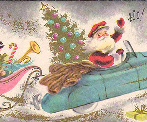 vintage christmas, santa sleigh, and santa car image