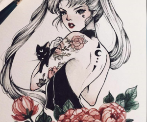 sailor moon and cat image