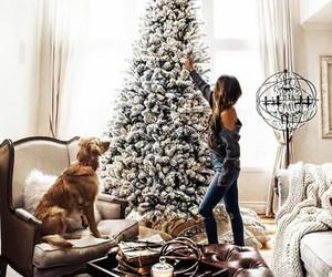 christmas, christmas tree, and dog image