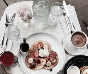 food, pancakes, and drinks image