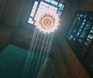 chandelier, grandcentral, and light image