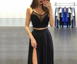 black dress, fashion, and long dress image