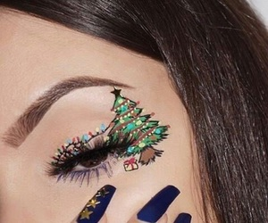 christmas, makeup, and tree image