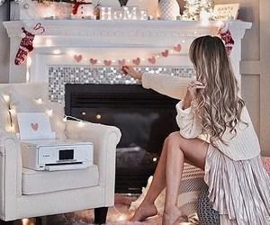 christmas, girl, and lights image