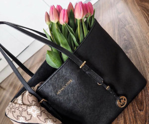 bag, classy, and flowers image