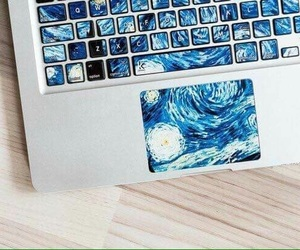 art, keyboard, and van gogh image