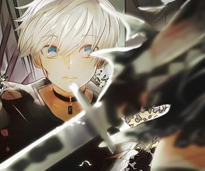 anime, sword, and white image