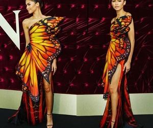 butterfly, dress, and zendaya image