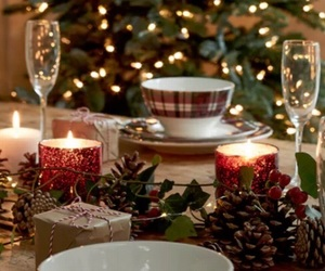 candles, christmas, and wine image