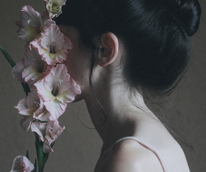 girl, flowers, and pale image