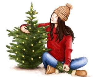 arbol, chicas, and ilustraciones image