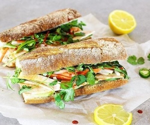 baguette, lunch, and yummy image