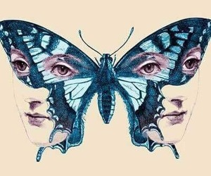 drawing, face, and butterfly image
