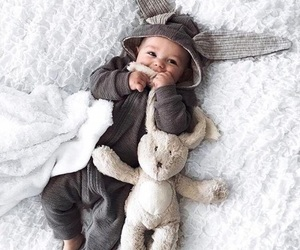 baby, lovely, and rabbit image