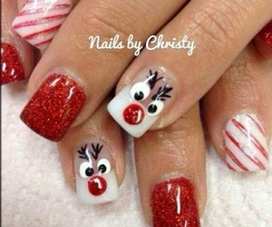 beautiful, nails, and reindeer image