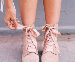 baby pink, boots, and bow image