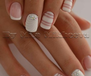 nail polish, pink, and white image