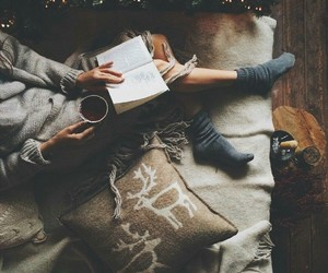 book, girl, and winter image