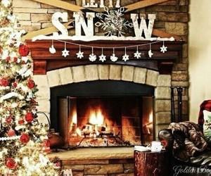 christmas, christmas tree, and fire place image