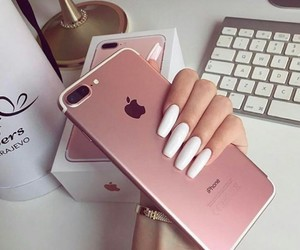 iphone, luxury, and white nails image