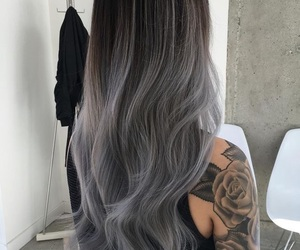 hair, tattoo, and grey image