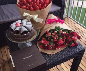 cake, flowers, and gucci image